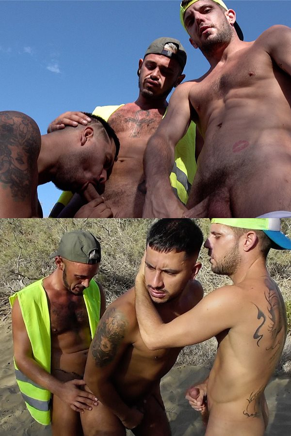 Rawroadnation - real British workmen Mikey Lee and three of his workmates bareback each other outdoors in I Get a Guided Tour of a Craving Husband in the Sun 01