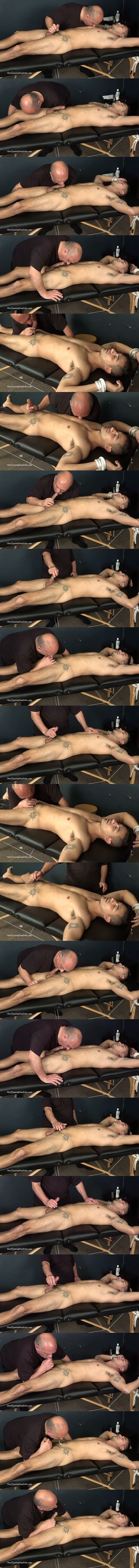 Slowteasinghandjobs - master Rich gets fit straight guy Tim tied to a massage table and slowly edges Tim's cock before Tim cums in Rich's mouth in Edging Blow Job 02