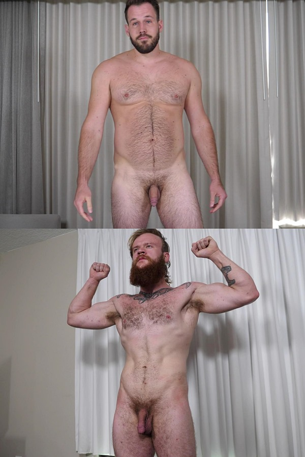 Theguysite - tall, masculine hairy straight hunk Harry and bearded cocky stud Jax Norseman get naked for the first time on camera before they jerk off 01