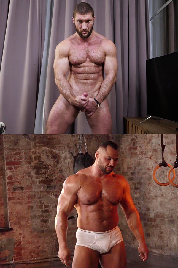 Theguysite - macho straight beefcake, Russian bodybuilders Max and Stas pose their naked muscular bodies and stroke their cocks until they shoot their white jizz 01