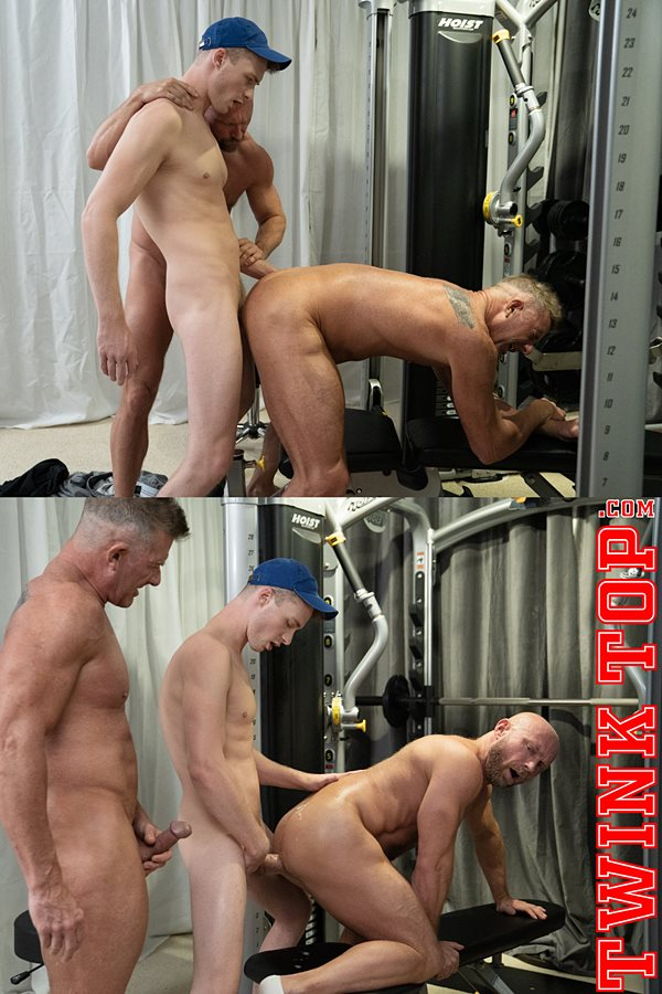 Twinktop - cute hung twink Cole Blue barebacks muscular daddies Matthew Figata and Killian Knox before he breeds two daddies in Blowing Off Steam Team Play 01