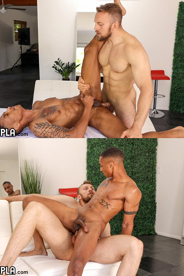 Gayhoopla - Masculine, bearded straight hunk Bryce Beckett fucks newcomer Eli Bennett's virgin ass in this interracial encounter before they blow their loads 01