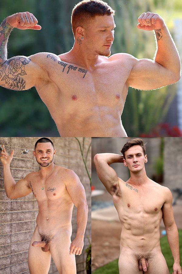 Gayhoopla - tattooed straight ginger Jeremiah Cruz, macho straight hunk Leo Gotti and ripped swimmer Roman Austin strip down and blow their creamy loads 01