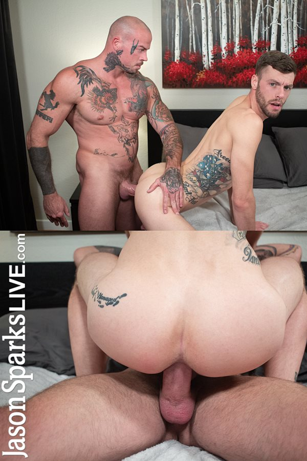Jasonsparkslive - Tattooed muscular veteran porn star Sean Duran barebacks Liam Carter in cowboy and doggy positions before he breeds Liam in his bottoming debut 01