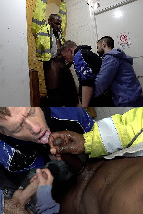 Rawroadnation - British construction worker Mikey Lee and Josh Innit tag team newbie Mark in an interracial threeway in BBC Double Load's Mark From The Park 01