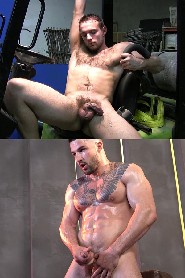 Theguysite - muscle daddy Dakota Philips, sexy hairy jock Joey and rugged handsome bodybuilder Tim strip down and pose their muscle bodies before they jerk off 01