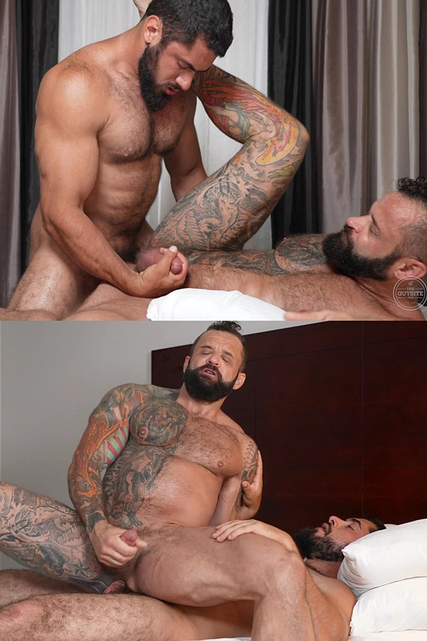Theguysite - hot masculine bearded straight beefcake Wolfenstein fucks inked muscle daddy Tank Joey before he fucks the cum out of Tank and gives him a facial 01