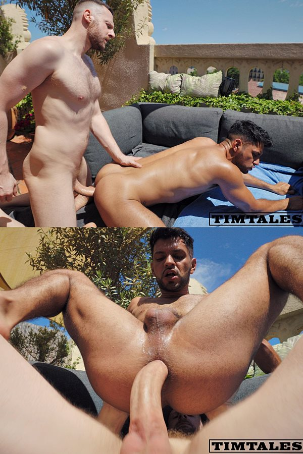 Timtales - big-dicked German power top Tim Kruger barebacks fit latino newcomer Oskar Ivan outdoors before he fucks the cum out of Oskar and creampies him 01