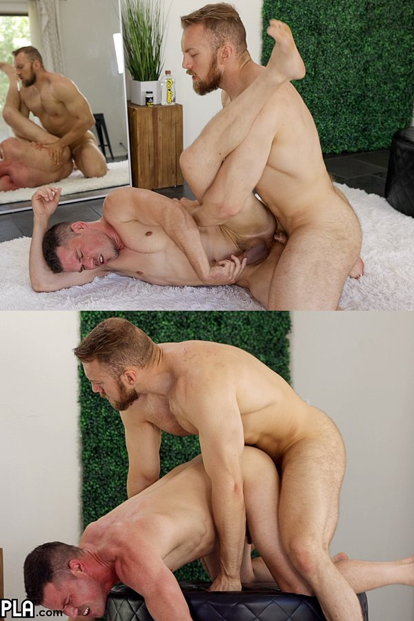 Gayhoopla - macho fuzzy personal trainer Bryce Beckett fucks Drew Andrews balls deep before he blows his load all over Drew's face in Drew's bottoming debut 01
