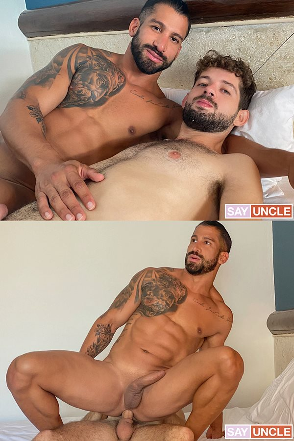 Latinleche - lean fuzzy latin jock Rob Campos barebacks handsome chiseled beefcake Octavio's bubble ass in Octavio's bottoming debut in Climbed That Chiseled Man 01