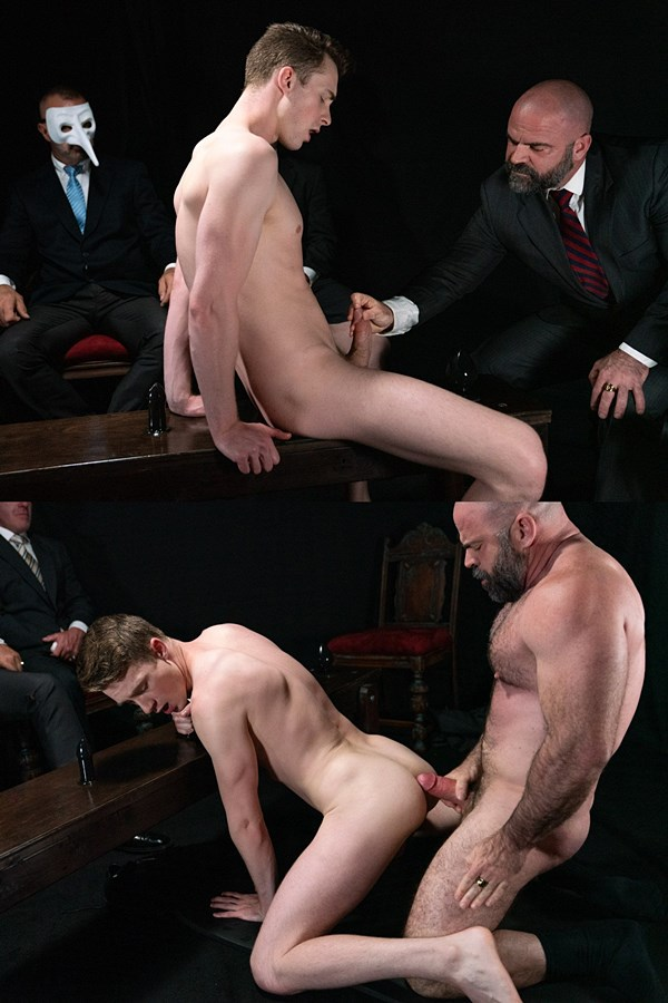 Masonicboys - manly fuzzy muscle daddy Bishop Angus barebacks cute twink porn star Cole Blue in this older younger encounter before Angus breeds Cole in Atonement 01