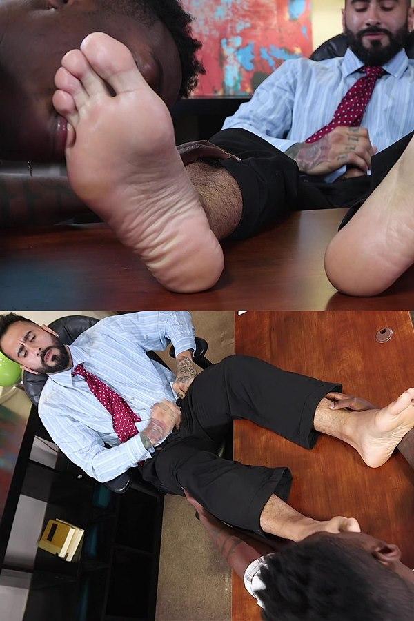 Myfriendsfeet - hunky black newcomer Marcel Eugene worships veteran porn star Rikk York's dress socks and bare feet till Rikk cums in Marcel's Job Interview 01