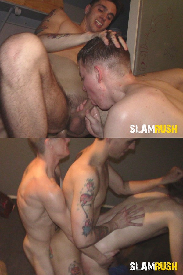 Slamrush - Hunter and Zach Murphy take turns getting fucked in several positions before Nasty Nik and Zach double fuck Hunter and breed him in Head Rush 01
