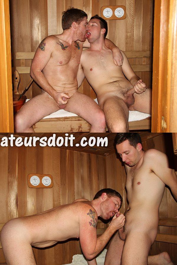 Amateursdoit - Aussie amateur ginger Beau Ridges fucks jock bottom Zach Buttpounder in the sauna room before they take turns cumming on each other's bodies 01