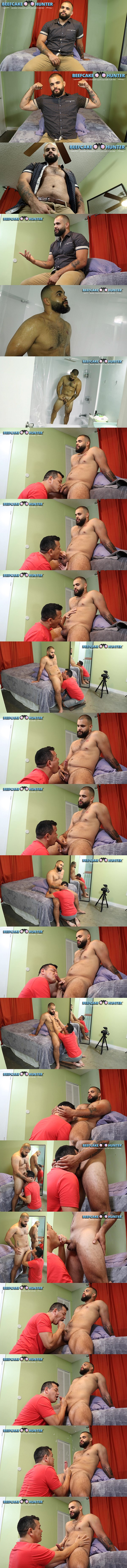 Beefcakehunter - Victor deep-throats beefy, masculine straight muscle hunk Gabriel's cock before he strokes a big creamy load out of Gabriel's hard pole 02