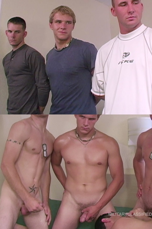 Militaryclassified - Rob sucks straight Marines Bobby, Jared and Carter's cocks before they give Rob a Bukakke by shooting their creamy loads on Rob's face 01