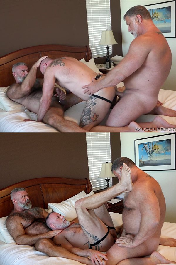 Musclebearporn - Liam Angell gets spit-roasted by hairy daddy Rick Kelson and Will Angell before Rick blows his load deep inside of Liam in Big Daddy Fucker 01