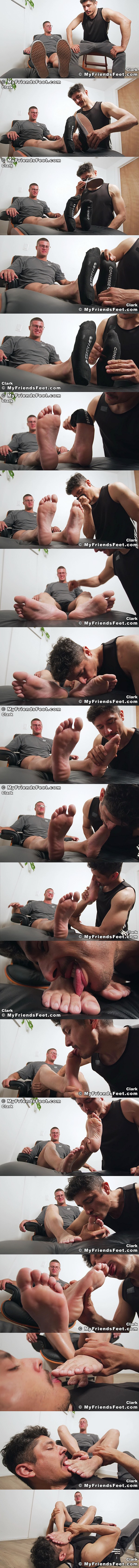 Myfriendsfeet - porn star Rocky Vallarta worships straight muscle hunk, young bodybuilder Clark's sports socks and manly bare feet until Clark is in ecstasy 02