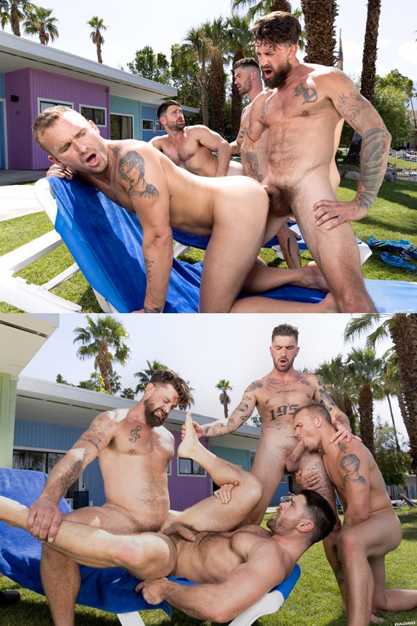 Ragingstallion - handsome muscle hunk Chris Damned barebacks Isaac X, Beau Butler and Alpha Wolfe in an outdoor fourway until they shoot their creamy loads 01