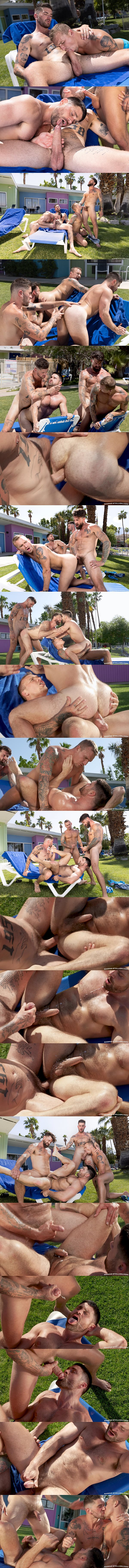 Ragingstallion - handsome muscle hunk Chris Damned barebacks Isaac X, Beau Butler and Alpha Wolfe in an outdoor fourway until they shoot their creamy loads 02