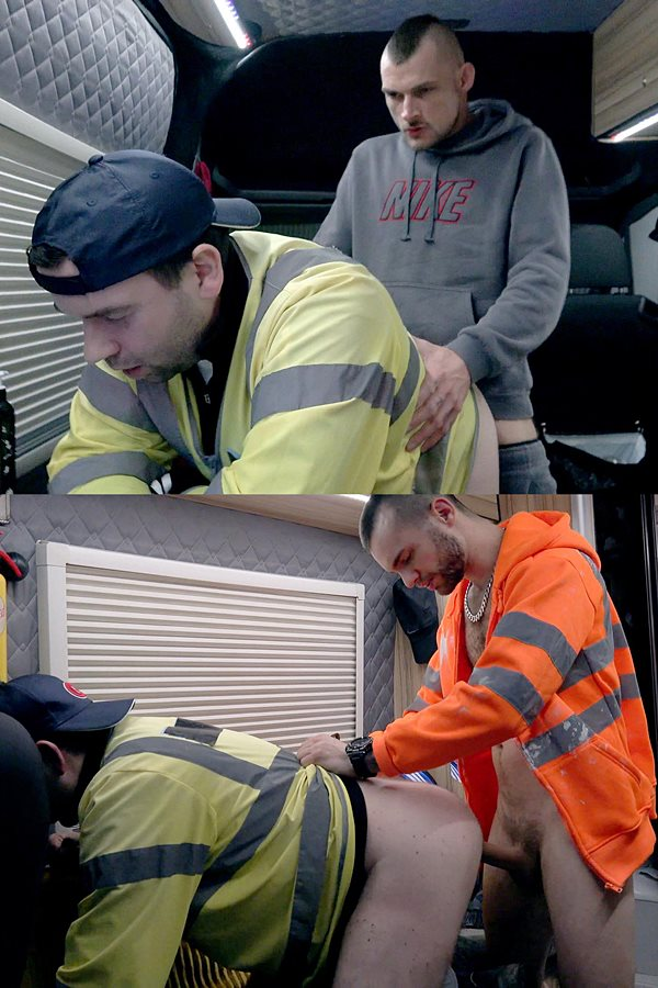 Rawroadnation - construction workers Tony Parker and Mikey Lee bareback and creampie an anonymous truck driver in Frothed Up Cum-Bucket Double Filled With Whizz Dripping Cocks 01
