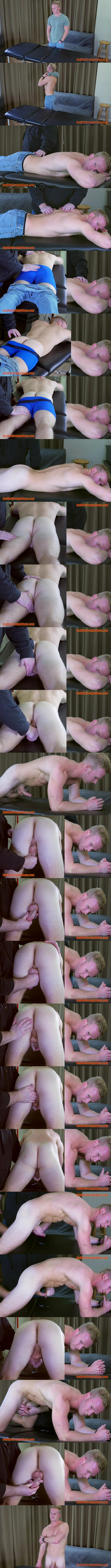 Redhotstraightboys - master Tom massages fit blond straight muscle jock Kurt Dorn's naked body and play with Kurt's dick and balls before he jerks Kurt off 02