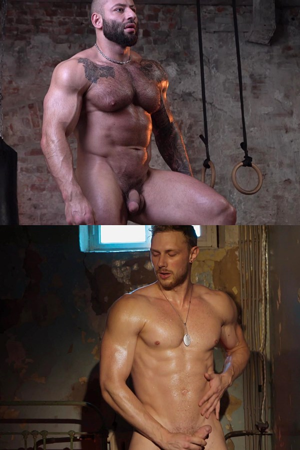 Theguysite - macho straight beefcake Adrenalin and hung Russian bodybuilder Fedor work out naked before they milk their creamy loads out of their hard cocks 01