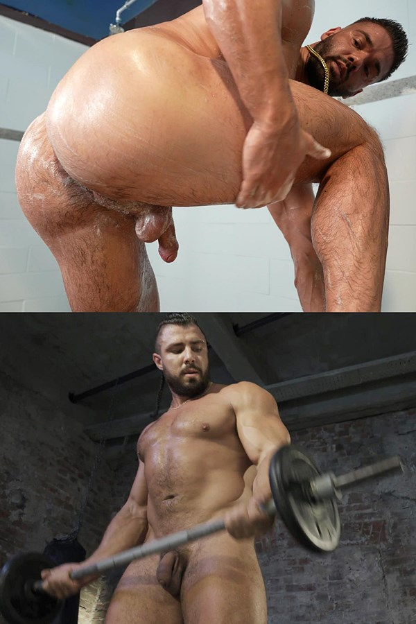 Theguysite - Hot newcomers, sexy beared muscle hunk Riko and macho Russian bodybuilder Ruslan pose their naked muscular bodies before they shoot their white jizz 01