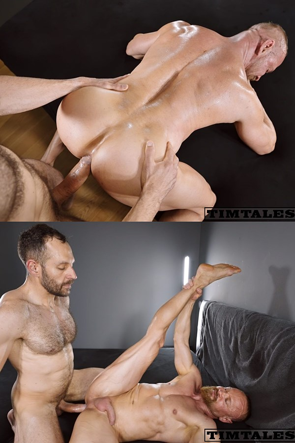 Timtales - masculine big-cocked Brazilian power top Mario Galeno barebacks bearded muscle daddy bottom Guido Stahl in several positions before he breeds Guido 01