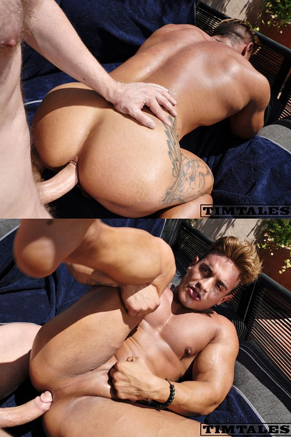 Timtales - big-dicked German power top Tim Kruger barebacks Spanish bodybuilder Heracles's muscle butt under sunshine before he blows his load in Heracles' mouth 01