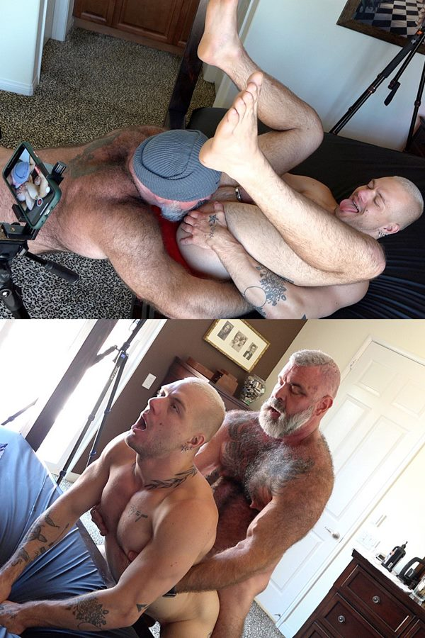 Houseofangell - Fuzzy bearded muscle daddy Will Angell barebacks muscle stud Gunnar Gates' bubble ass in an older younger scene before he nuts in Gunnar's ass 01
