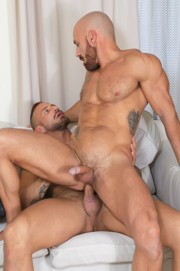 Kristenbjorn - inked muscle hunk Antonio Miracle and sexy ripped stud Samuel Redx flip fuck before they fuck the cum out of each other in Casting Couch #450 01