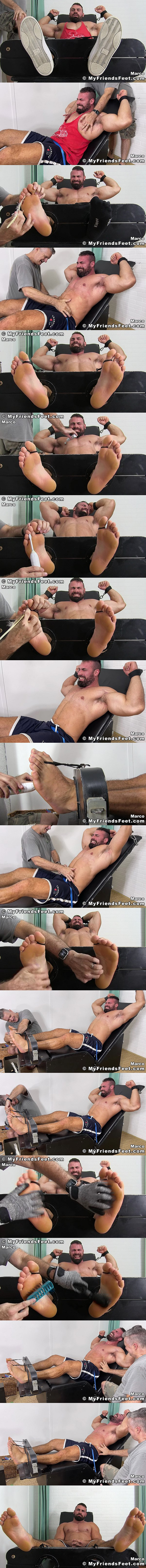 Myfriendsfeet - a foot master tickles straight beefcake Marco Pinotti's sides, pits, huge thighs and soles with his hands and tickle toys in Giant Marco Tickled 02