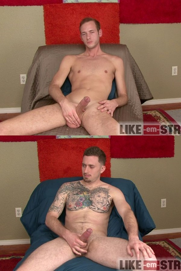 Like-em-straight - tall lean straight guy Jackson and masculine tattooed straight muscle hunk Tobias wank off for the first time on camera in California Hardwood 01