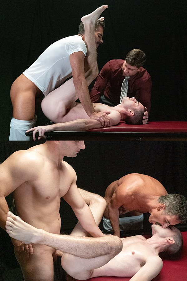 Masonicboys - Mitch Cox and Rick Fantana take turns barebacking twink Oliver James before they creampie Oliver in an older younger scene in Disciplinary Action 01