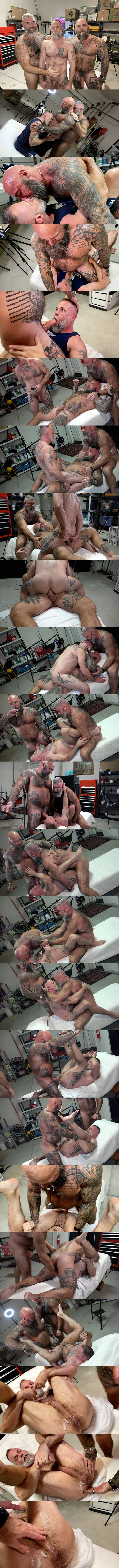 Musclebearporn - masculine inked hairy daddy Jason Collins and Will Angell bareback bear bottom Liam Angell before Jason creampies Liam in Dad's Biker Buddy 02