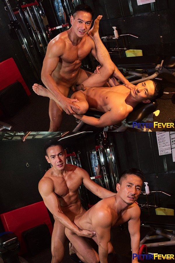 Peterfever - Japanese-Filipino muscle hunk Ryuji barebacks popular Japanese gay porn star Hiroya in a gym encounter before they give each other hot facials 01