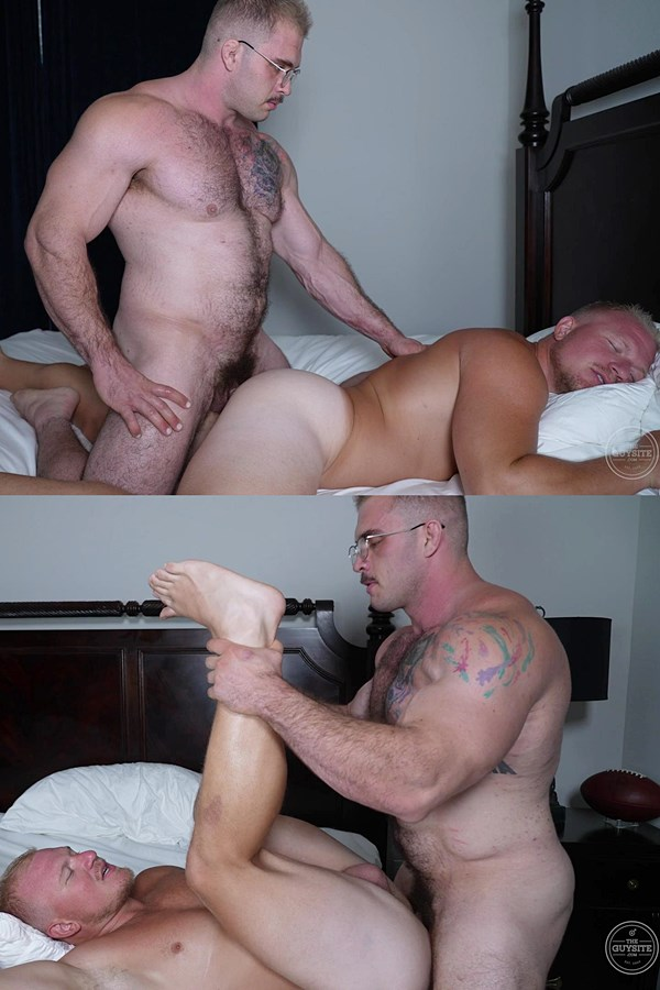Theguysite - fuzzy muscle hunk Davin Strong fucks football stud Knox's virgin ass in several positions before he cums in Knox's mouth in Popping Knox's Cherry 01