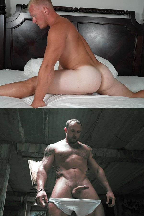 Theguysite - football player Knox and a macho Russian straight bodybuilder show off their muscular bodies and expose their virgin asses before they jerk off 01
